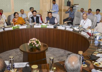 Finance Minister Nirmala Sitharaman and other senior officials during the meeting with real estate industry representatives, Sunday