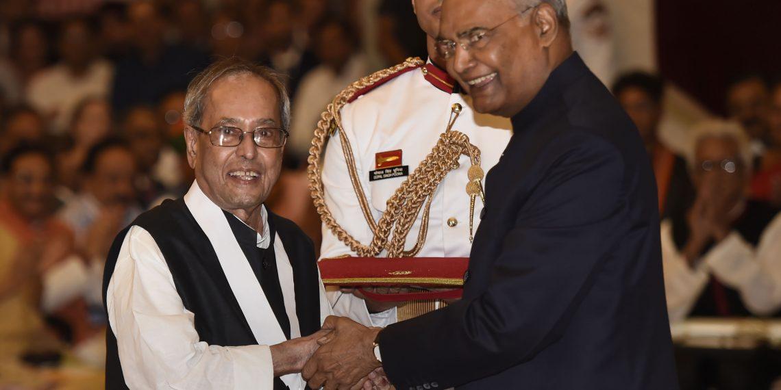 President Ram Nath Kovind confers Bharat Ratna upon former president Pranab Mukherjee during a ceremony at Rashtrapati Bhavan, in New Delhi, Thursday,. (PTI)