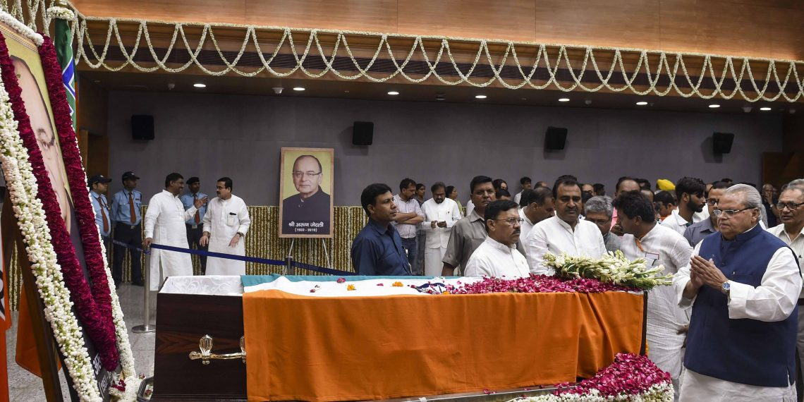 J&K Governor Satya Pal Malik paying his last respects to former Finance Minister Arun Jaitley