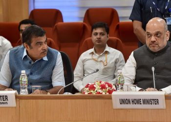Union Ministers Nitin Gadkari and Amit Shah during the meeting with Chief Ministers, Monday