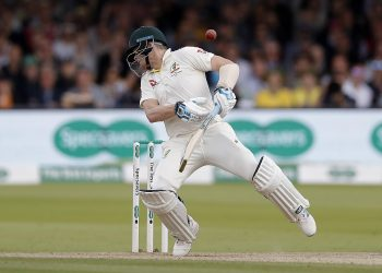 Steve Smith is struck by a delivery from Jofra Archer at Lord's, Saturday