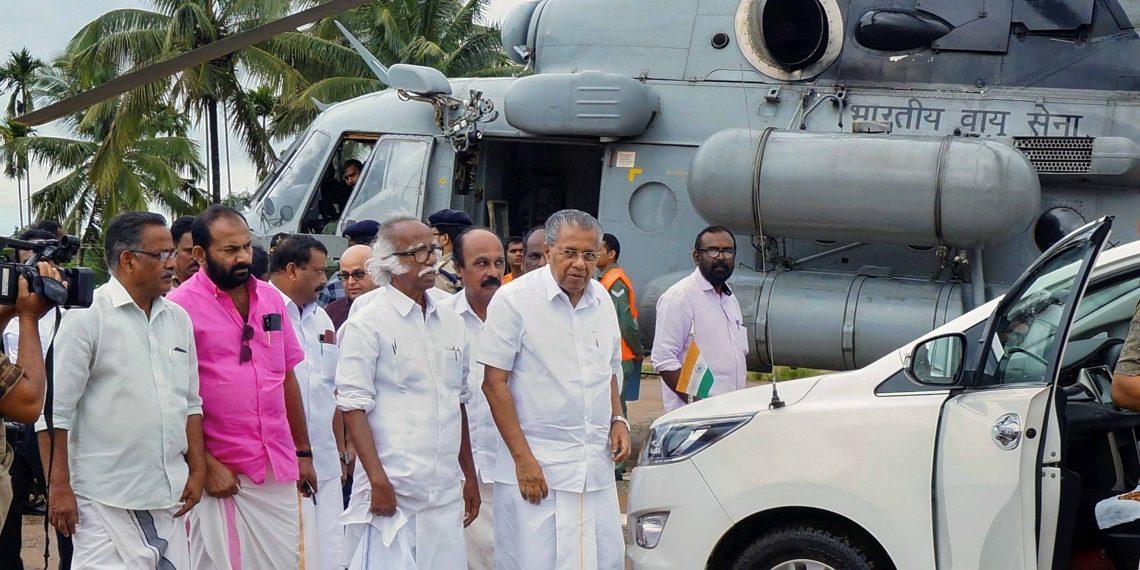 Kerala Chief Minister Pinarayi Vijayan at a relief camp in Wayanad district