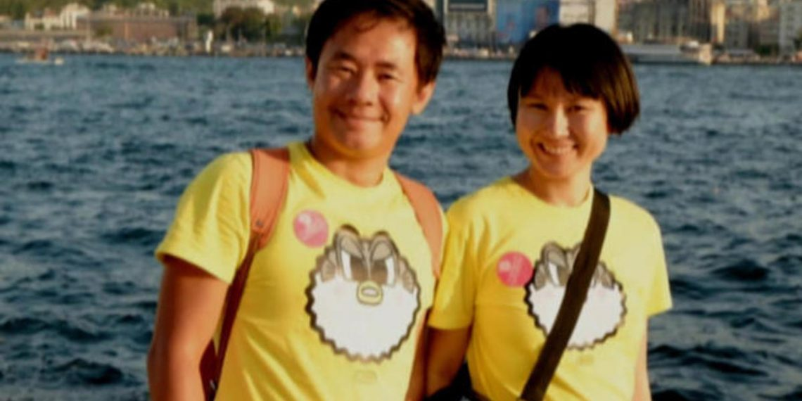 In better times: Xiyue Wang and his wife Hua Qu