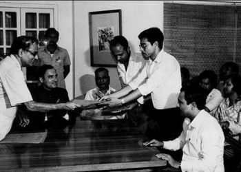Assam Accord signed by the Centre, the state, AASU and AAGSP in the presence of then Prime Minister Rajiv Gandhi in 1985.