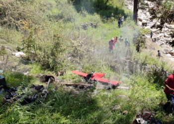 A private helicopter with three persons on board crashed near Moldi in the rain-hit Uttarkashi district after getting entangled in cables.