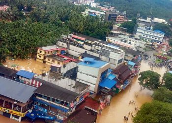 An aerial view of the flooded Malappuram district in Kerala