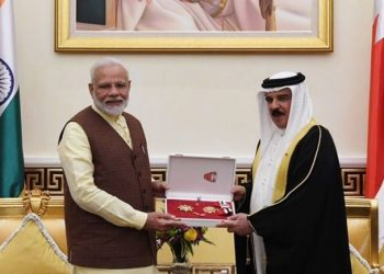 Modi, the first Indian prime minister to visit Bahrain, received the honour Saturday night when he called on the King of Bahrain.