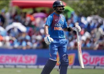 Chasing a target of 168 handed by India here Sunday, West Indies laboured their way to 98/4 in 15.3 overs before rain forced play to be suspended and the Men in Blue were declared winner.