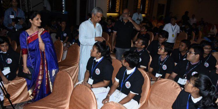 OrissaPOST Editor Tathagata Satpathy and CEO Adyasha Satpathy speak to the participants of the Mettle Meet 2019, Thursday