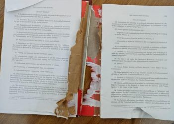 The torn up copy of the Indian Constitution.