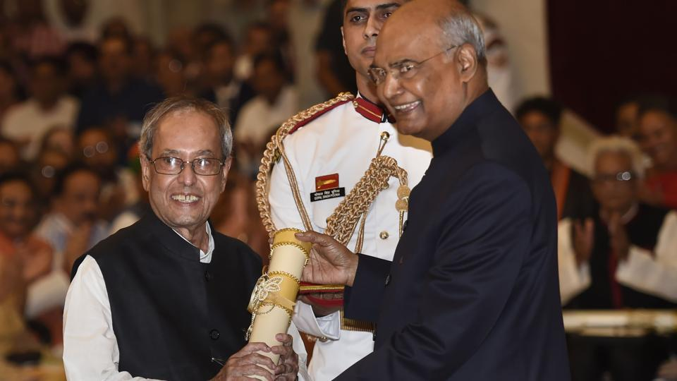 Mukherjee was conferred the highest civilian award by his successor Ram Nath Kovind Thursday.