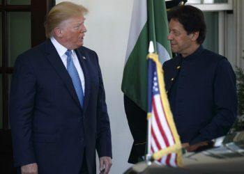 US President Donald Trump (L) and Pakistan PM Imran Khan. File pic