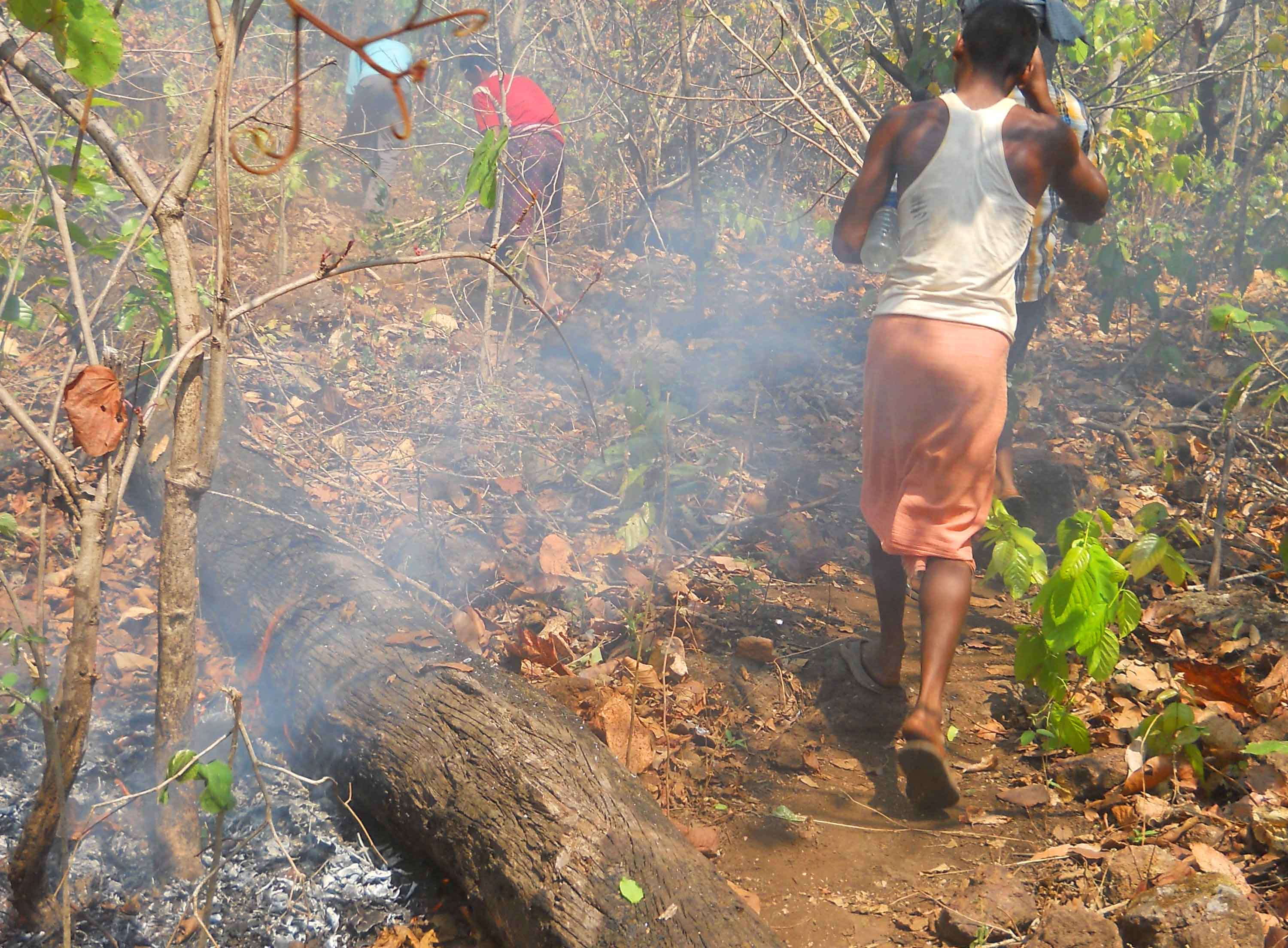 Community members extinguishing fire in jungle (2)