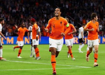 Donyell Malen celebrates after scoring his maiden goal for the Netherlands during the game against Germany, Friday