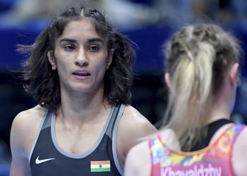 Vinesh Phogat during her bout, Wednesday