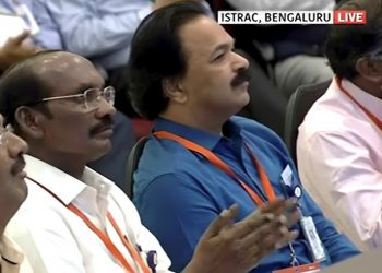 ISRO chairman K Sivan (centre) and other scientists of ISRO