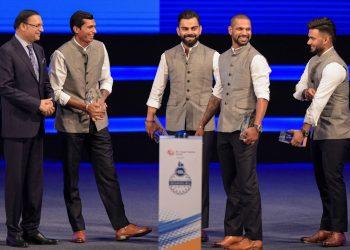 (From Left) DDCA president Rajat Sharma, Navdeep Saini, Virat Kohli, Shikhar Dhawan and Rishabh Pant