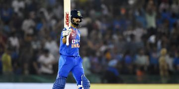 Virat Kohli acknowledges the applause of the crowd after reaching his 50, Wednesday