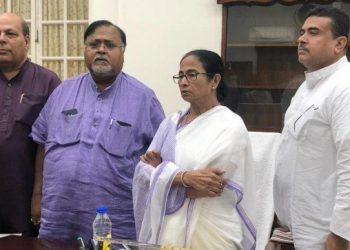 (From Left): Omprakash Mishra, Partha Chatterjee, Mamata Banerjee, Suvendu Adhikari Photo courtesy TMC Facebook