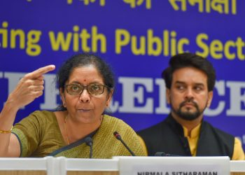 Finance Minister Nirmala Sitharam addresses the media after her meeting with bank officials