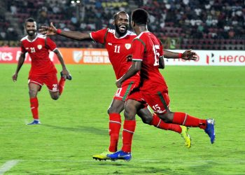 Oman's Alawi Al Mandhar (No. 11) is all smiles after scoring the winning goal against India