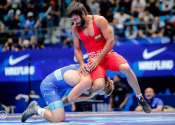 Bajrang Punia in action during his semifinal bout
