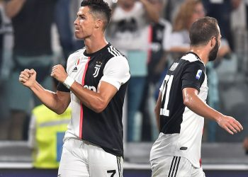 Cristiano Ronaldo celebrates after scoring for Juventus against Napoli, Saturday