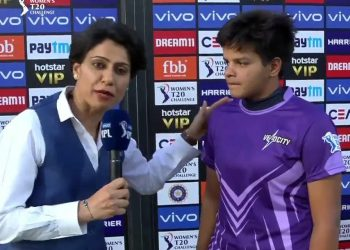 Rookie Shafali Verma (R) during an interview