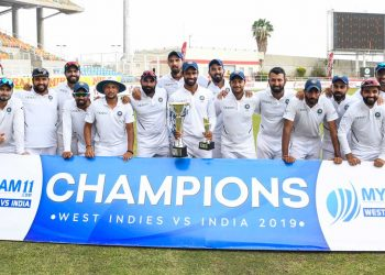 The Indian team pose for a group photo after winning the series against the West Indies
