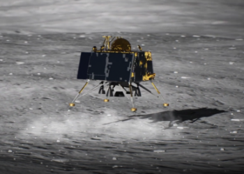A still from a video produced by ISRO showing how its Vikram lander was meant to touch down on the moon on Sept. 6, 2019.(Image: ISRO)