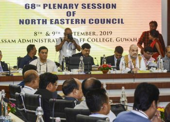 Union Home Minister Amit Shah (2nd right) at the plenary session of the North East Council