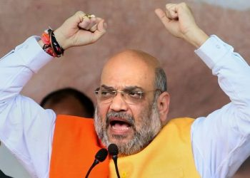 Jamtara: BJP national president and Union Home Minister Amit Shah addresses a rally to begin his Jan Ashirvaad Yatra, ahead of the state Assembly elections, in Jamtara, Wednesday, Sept 18, 2019. (PTI Photo) (PTI9_18_2019_000111A)