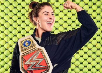 The WWE belt contains Andreescu's full name along with the logo of the US Open.