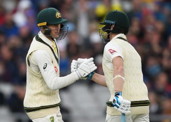 Marnus Labuschagne and Steven Smith shake hands during Day One of the fourth Ashes Test at Old Trafford, Wednesday