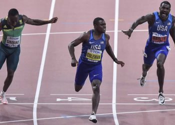 Christian Coleman (Centre) winning the 100m at Doha, Saturday night