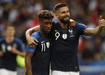Coman with Olivier Giroud.