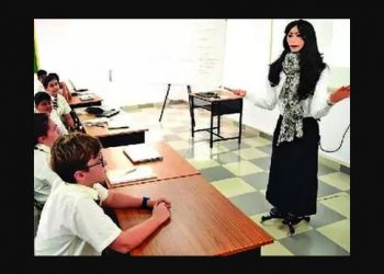 Though the 5 foot 7 inch robots, dressed in formal female attire, do not replace real teachers, they complement them in teaching lessons in the subjects and reply to FAQs.