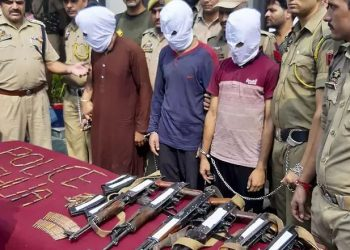 Three terrorists, who were travelling on the truck, were arrested and arms and ammunition were seized last Thursday.