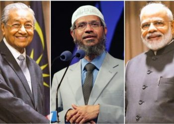 (From left) Mahathir Mohamad, Zakir Naik,and Narendra Modi