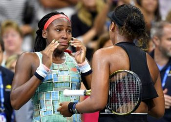The emotional clash was followed by tearful on-court interviews, Osaka asking Gauff to join her with the microphone as they met at the net.