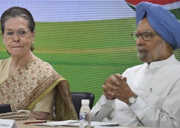 Congress president Sonia Gandhi and former Prime Minister Manmohan Singh during the meeting, Thursday