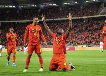 Romelu Lukaku celebrates after scoring his 50th goal for Belgium