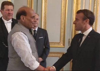 Rajnath Singh and French President Emmanuel Macron