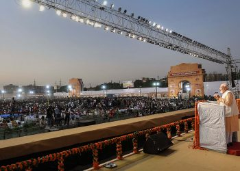 Narendra Modi speaks to the gathering at Dwarka
