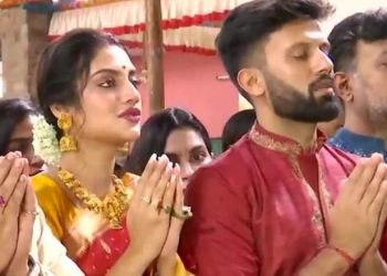Actor Nusrat Jahan with husband at the pandal