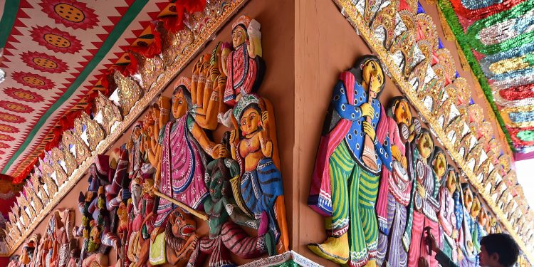 Odisha's patachitra is one of the themes adopted by a community puja in Kolkata