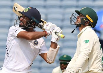 Cheteshwar Pujara dispatches one to the boundary during his innings Thursday