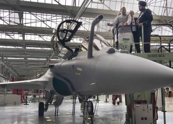 Rajnath Singh inspects a Rafale fighter aircraft at the Dassault Aviation factory in France