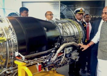 Defence Minister Rajnath Singh at the engine manufacturing facility