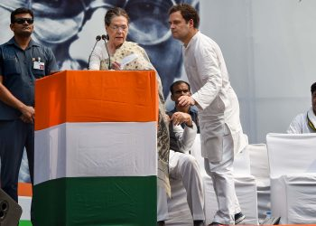 Sonia Gandhi and Rahul Gandhi during the Congress rally, Wednesday